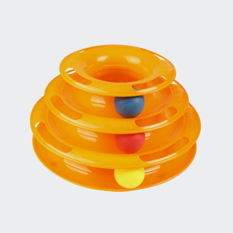 2020 funny 3 layers interactive turntable circle track plastic disk moving balls kitten cats pet toys Mould